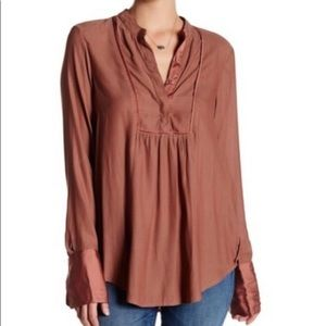 Free People Mauve Sleeved Blouse, Size S
